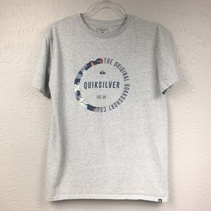 Quiksilver Grey Graphic Short Sleeve Tee Shirt